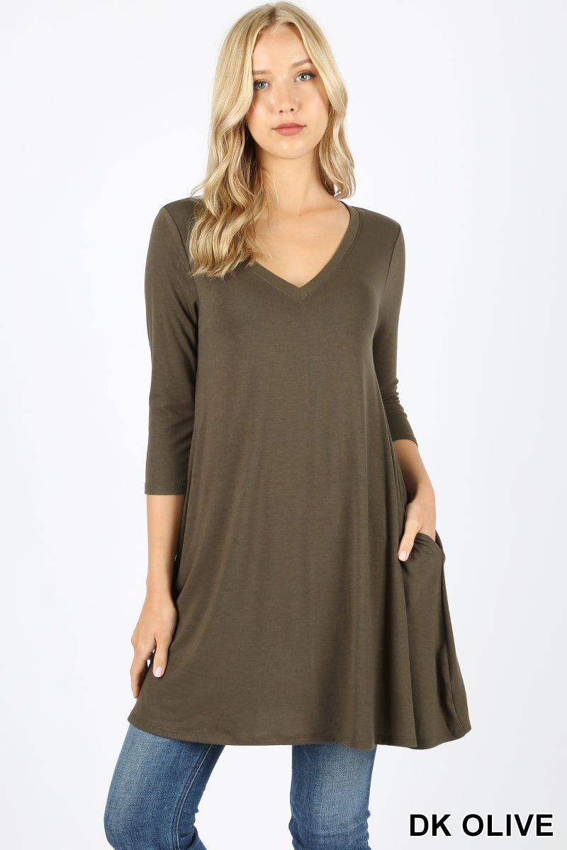 3/4 SLEEVE V-NECK STRAIGHT HEM FLARED TOP