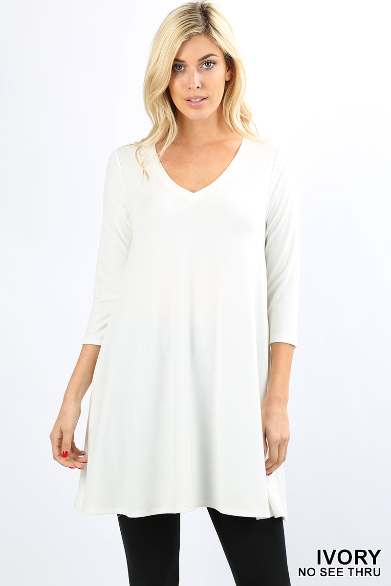 3/4 SLEEVE V-NECK STRAIGHT HEM FLARED TOP - Zenana Outfitters Women's Clothing