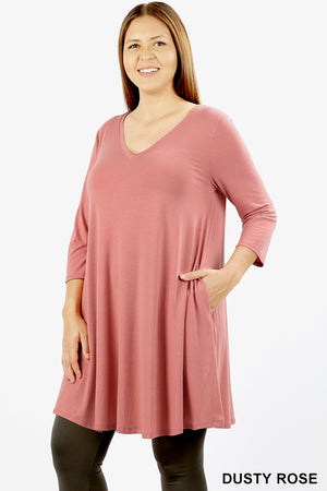 PLUS 3/4 SLEEVE V-NECK STRAIGHT HEM FLARED TOP