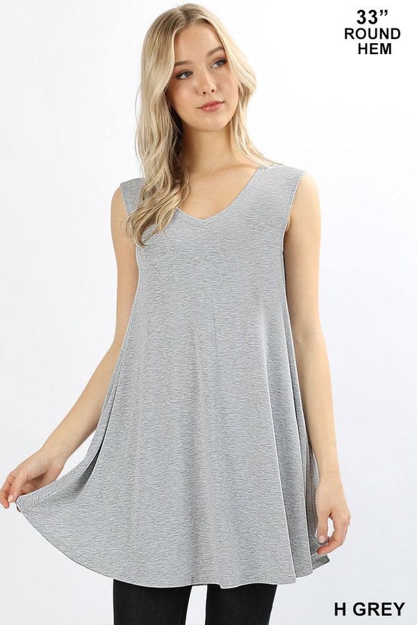 PREMIUM FABRIC SLEEVELESS V-NECK ROUND HEM LONGLINE FLARED TOP WITH SIDE POCKETS - Zenana Outfitters Women's Clothing