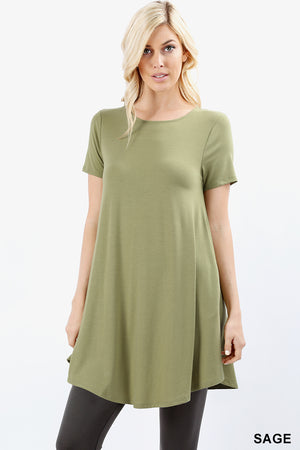SHORT SLEEVE ROUND-NECK ROUND HEM TUNIC