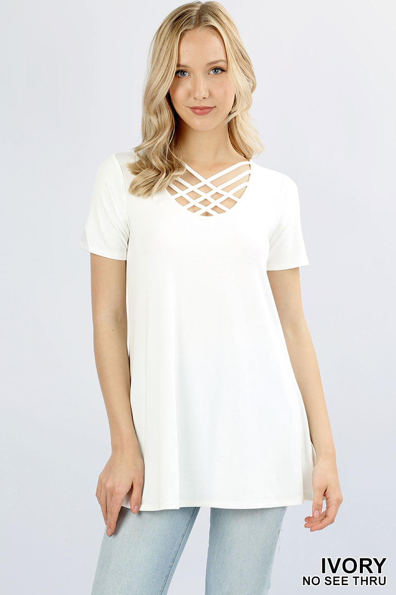 PREMIUM SHORT SLEEVE TRIPLE LATTICE TOP