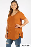 PLUS PREMIUM SHORT SLEEVE BUTTON DOLPHIN HEM TOP