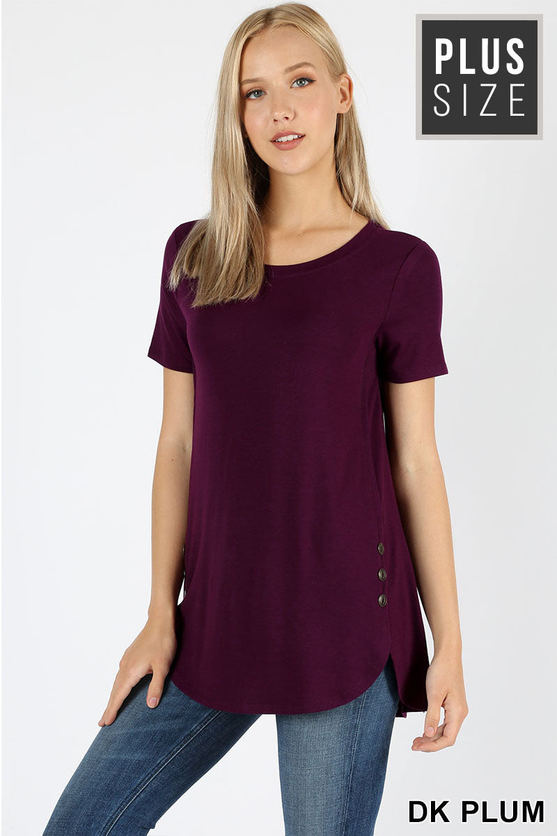PLUS PREMIUM SHORT SLEEVE BUTTON DOLPHIN HEM TOP - Zenana Outfitters Women's Clothing
