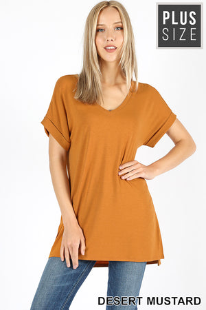 PLUS ROLLED SLEEVE SIDE SLIT HI-LOW HEM