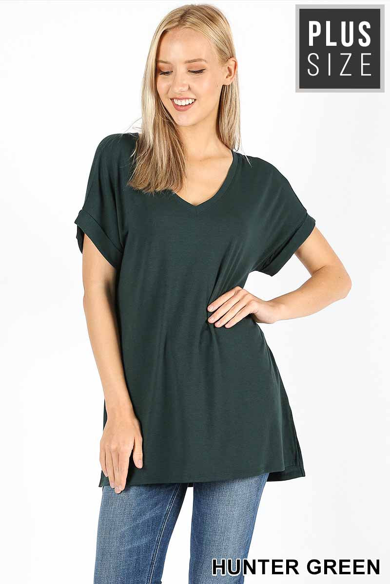 PLUS ROLLED SLEEVE SIDE SLIT HI-LOW HEM - Zenana Outfitters Women's Clothing
