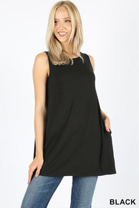 SLEEVELESS BOAT NECK FLARED TOP WITH POCKETS