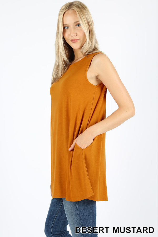 SLEEVELESS BOAT NECK FLARED TOP WITH POCKETS - Zenana Outfitters Women's Clothing