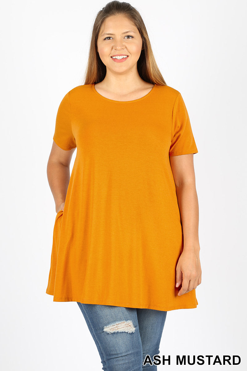 PLUS SHORT SLEEVE BOAT NECK FLARED TOP