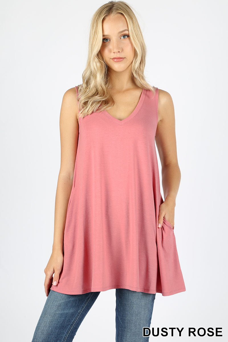 SLEEVELESS V NECK FLARED TOP WITH POCKETS