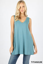 SLEEVELESS V NECK FLARED TOP WITH POCKETS - Zenana Outfitters Women's Clothing