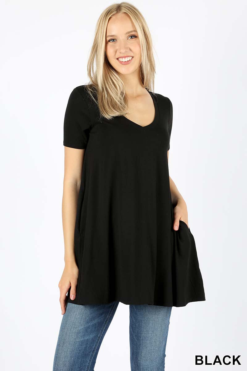 SHORT SLEEVE V NECK FLARED TOP WITH POCKETS