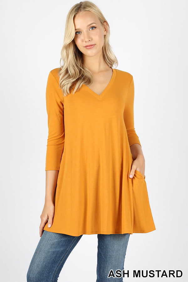 3/4 SLEEVE V-NECK FLARED SIDE POCKET TOP