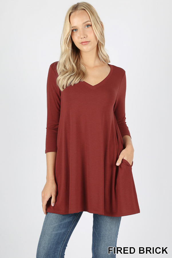 3/4 SLEEVE V-NECK FLARED SIDE POCKET TOP - Zenana Outfitters Women's Clothing