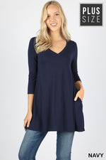 PLUS 3/4 SLEEVE V-NECK FLARED SIDE POCKET TOP