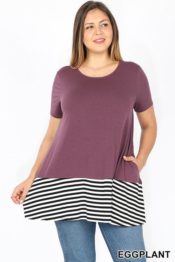 PLUS PREMIUM STRIPED & SOLID SHORT SLEEVE TOP | Zenana Outfitters