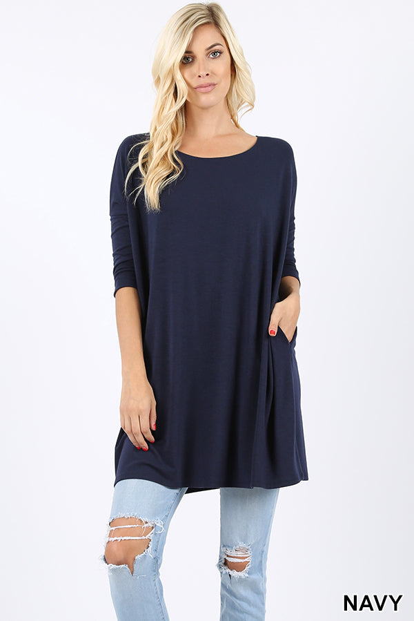 PREMIUM FABRIC 3/4 SLEEVE DOLMAN TOP - Zenana Outfitters Women's Clothing