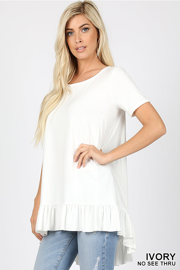 PREMIUM SHORT SLEEVE RUFFLE BOTTOM HI-LOW HEM TOP - Zenana Outfitters Women's Clothing