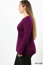 PLUS RAYON LONG SLEEVE ROUND NECK TEE