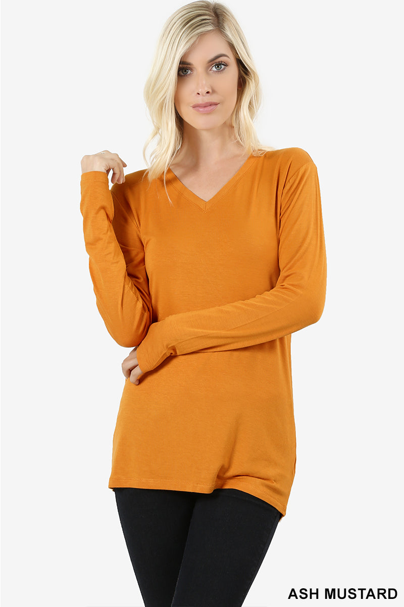 a34fef8c7bb8c PREMIUM RAYON LONG SLEEVE V-NECK TEE - Zenana Outfitters Women s Clothing