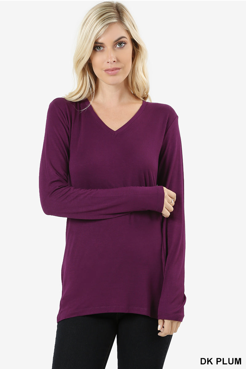 PREMIUM RAYON LONG SLEEVE V-NECK TEE - Zenana Outfitters Women's Clothing