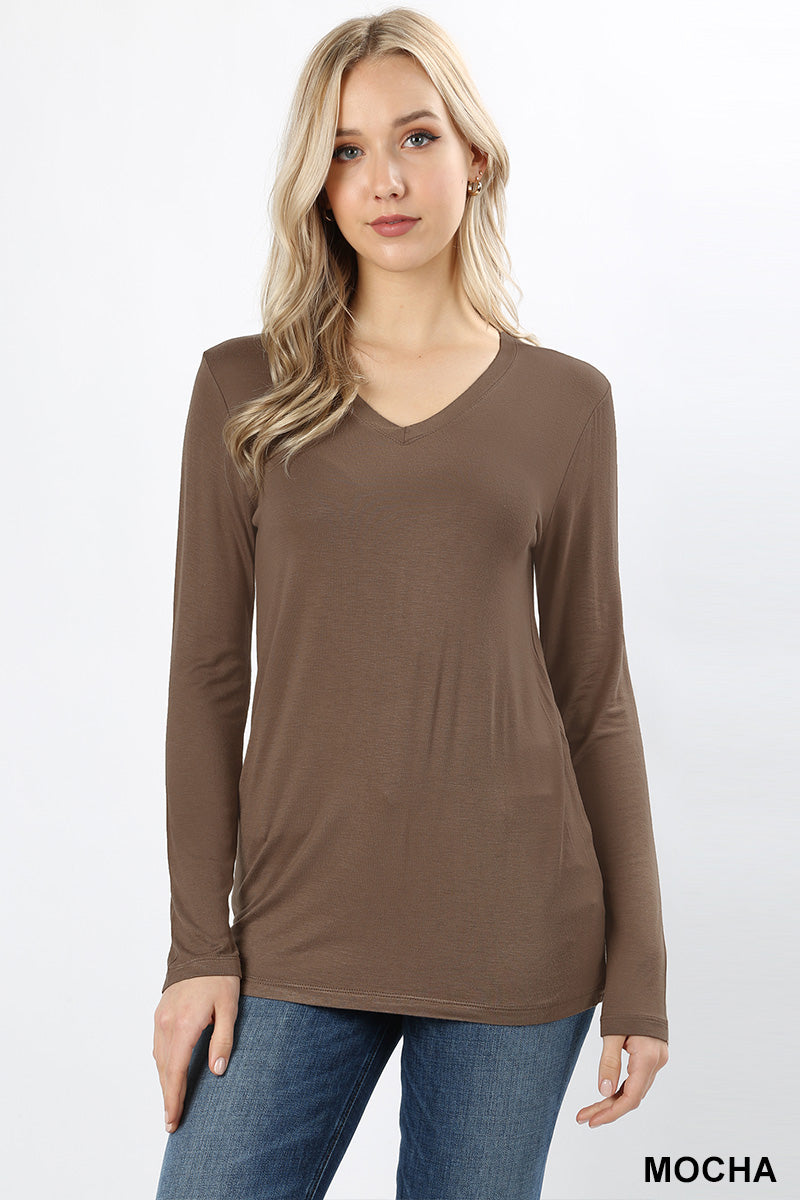 PREMIUM RAYON LONG SLEEVE V-NECK TEE