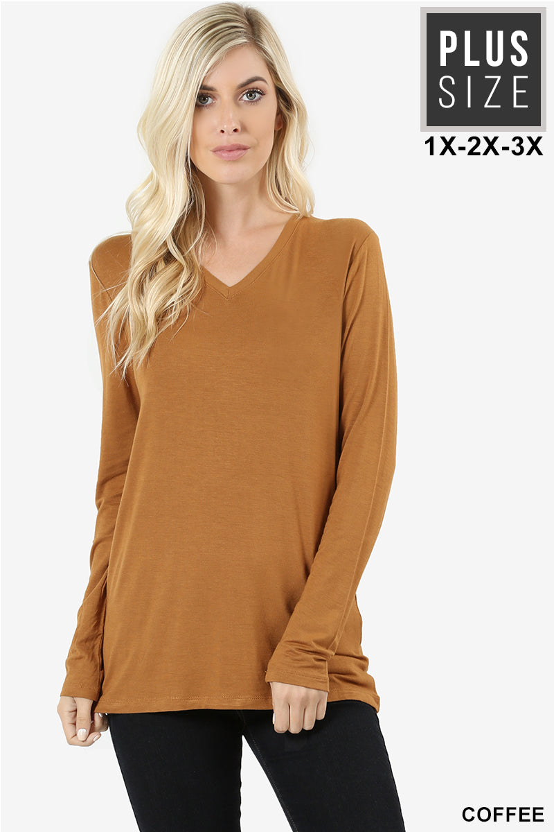 PLUS PREMIUM RAYON LONG SLEEVE V-NECK TEE - Zenana Outfitters Women's Clothing