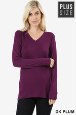 PLUS PREMIUM RAYON LONG SLEEVE V-NECK TEE