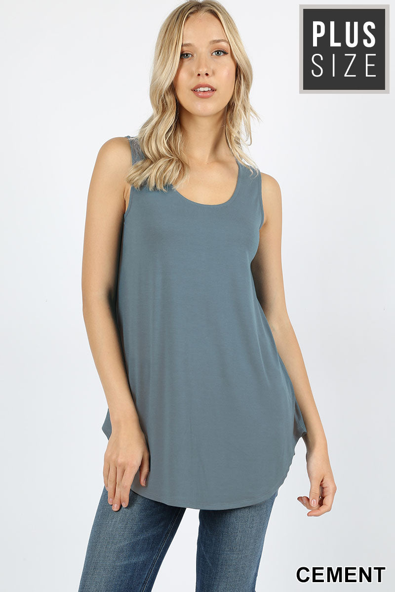 PLUS PREMIUM SLEEVELESS ROUND NECK ROUND HEM TOP - Zenana Outfitters Women's Clothing