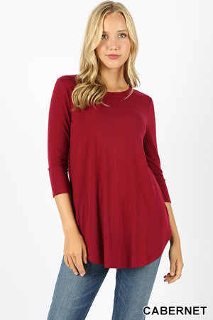 3/4 SLEEVE ROUND NECK & ROUND HEM TOP - Zenana Outfitters Women's Clothing