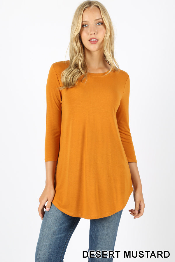 3/4 SLEEVE ROUND NECK & ROUND HEM TOP