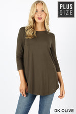 PLUS 3/4 SLEEVE ROUND NECK & ROUND HEM TOP
