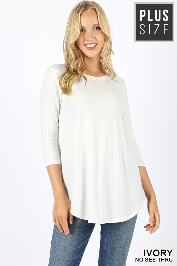 PLUS 3/4 SLEEVE ROUND NECK & ROUND HEM TOP - Zenana Outfitters Women's Clothing