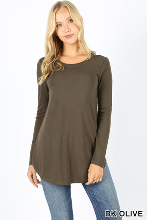 LONG SLEEVE ROUND NECK ROUND HEM TOP - Zenana Outfitters