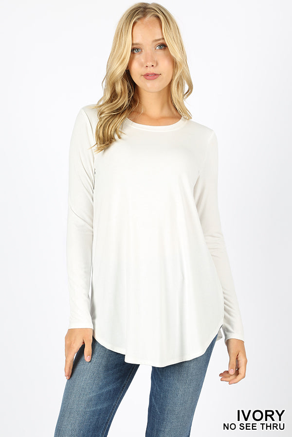 LONG SLEEVE ROUND NECK ROUND HEM TOP - Zenana Outfitters Women's Clothing