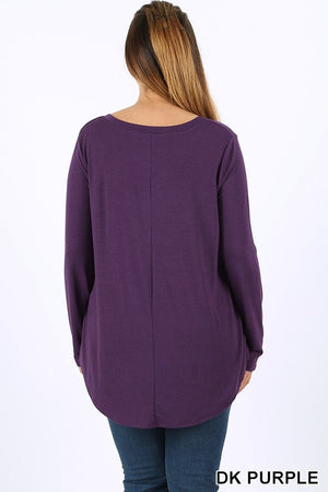 PLUS PREMIUM LONG SLEEVE V-NECK ROUND HEM TOP - Zenana Outfitters Women's Clothing