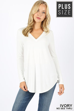 PLUS PREMIUM LONG SLEEVE V-NECK ROUND HEM TOP - Zenana Outfitters