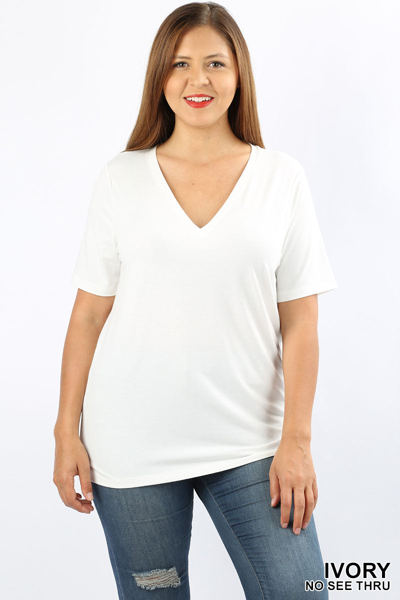 PLUS PREMIUM FABRIC SHORT SLEEVE V-NECK TEE - Zenana Outfitters Women's Clothing