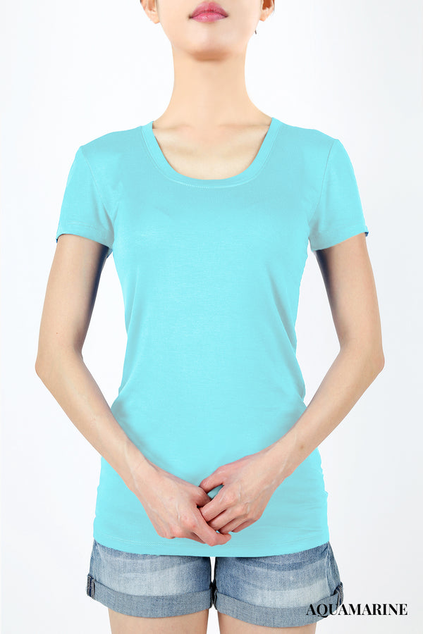 RAYON SCOOP NECK LONG LINE TEE - Zenana Outfitters Women's Clothing