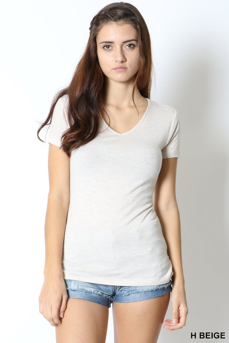 BASIC V- NECK SHORT SLEEVE TEE - Zenana Outfitters