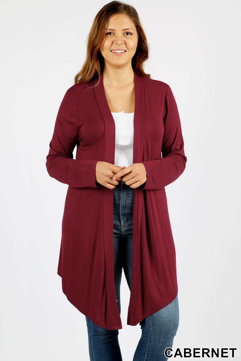 PLUS DRAPEY OPEN-FRONT LONG SLEEVE CARDIGAN