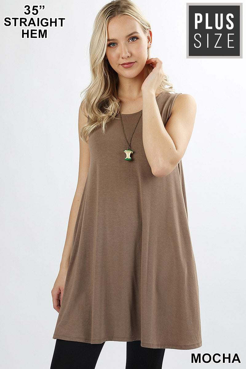 b860635c7fd PLUS ROUND NECK SLEEVELESS TUNIC WITH SIDE POCKETS - Zenana Outfitters
