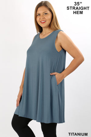PLUS ROUND NECK SLEEVELESS TUNIC WITH SIDE POCKETS