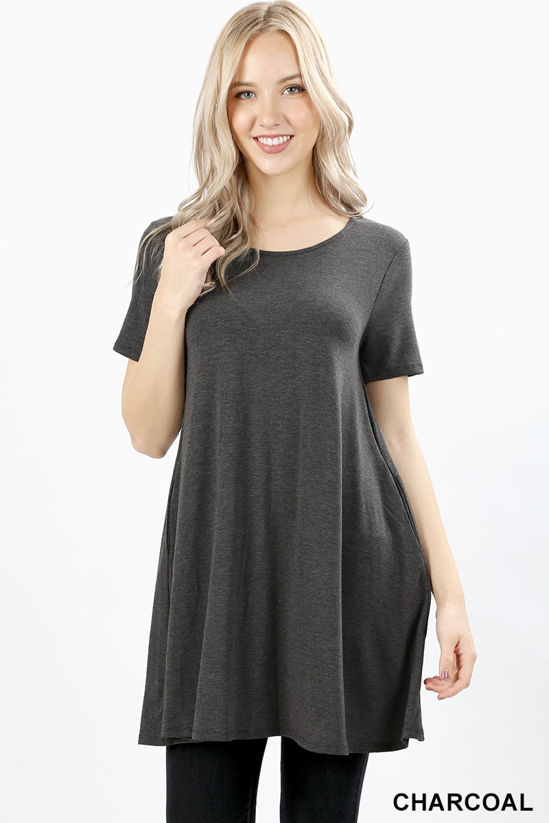 SHORT SLEEVE ROUND-NECK STRAIGHT HEM TUNIC