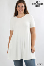 PLUS SHORT SLEEVE ROUND-NECK STRAIGHT HEM TUNIC