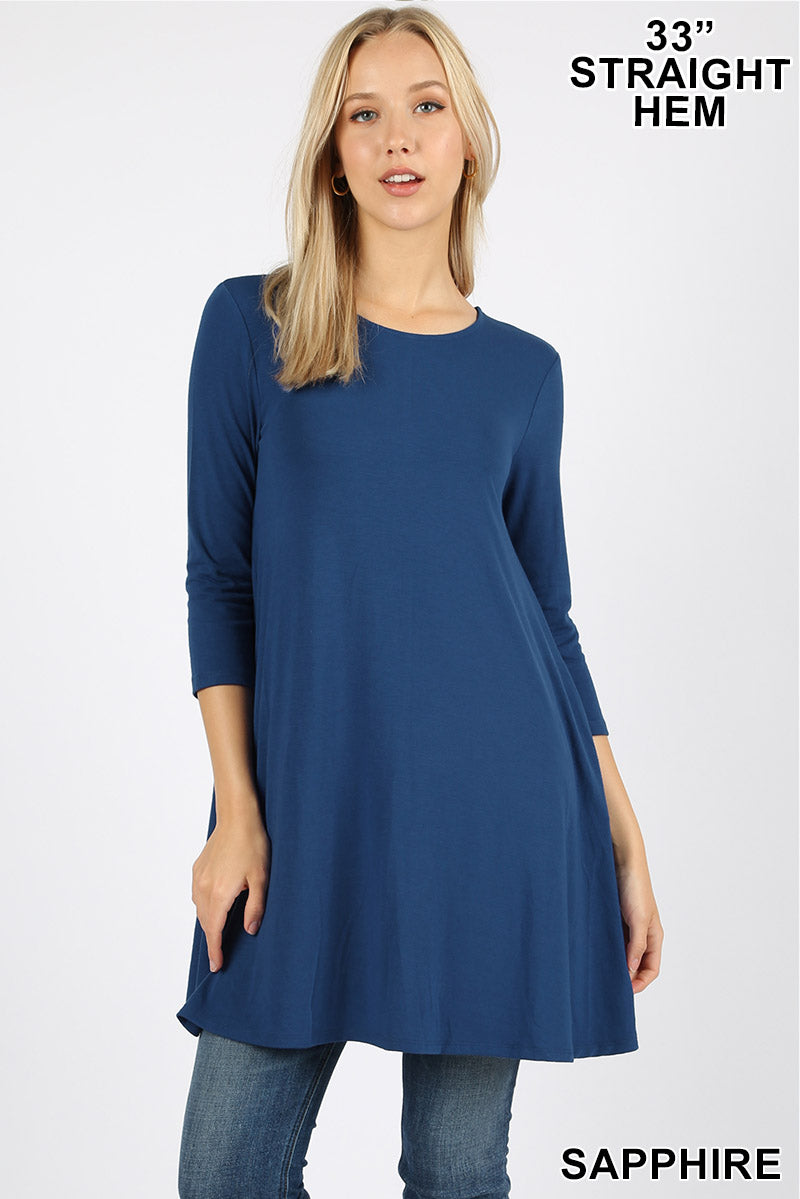 3/4 SLEEVE SWING TUNIC WITH SIDE POCKETS