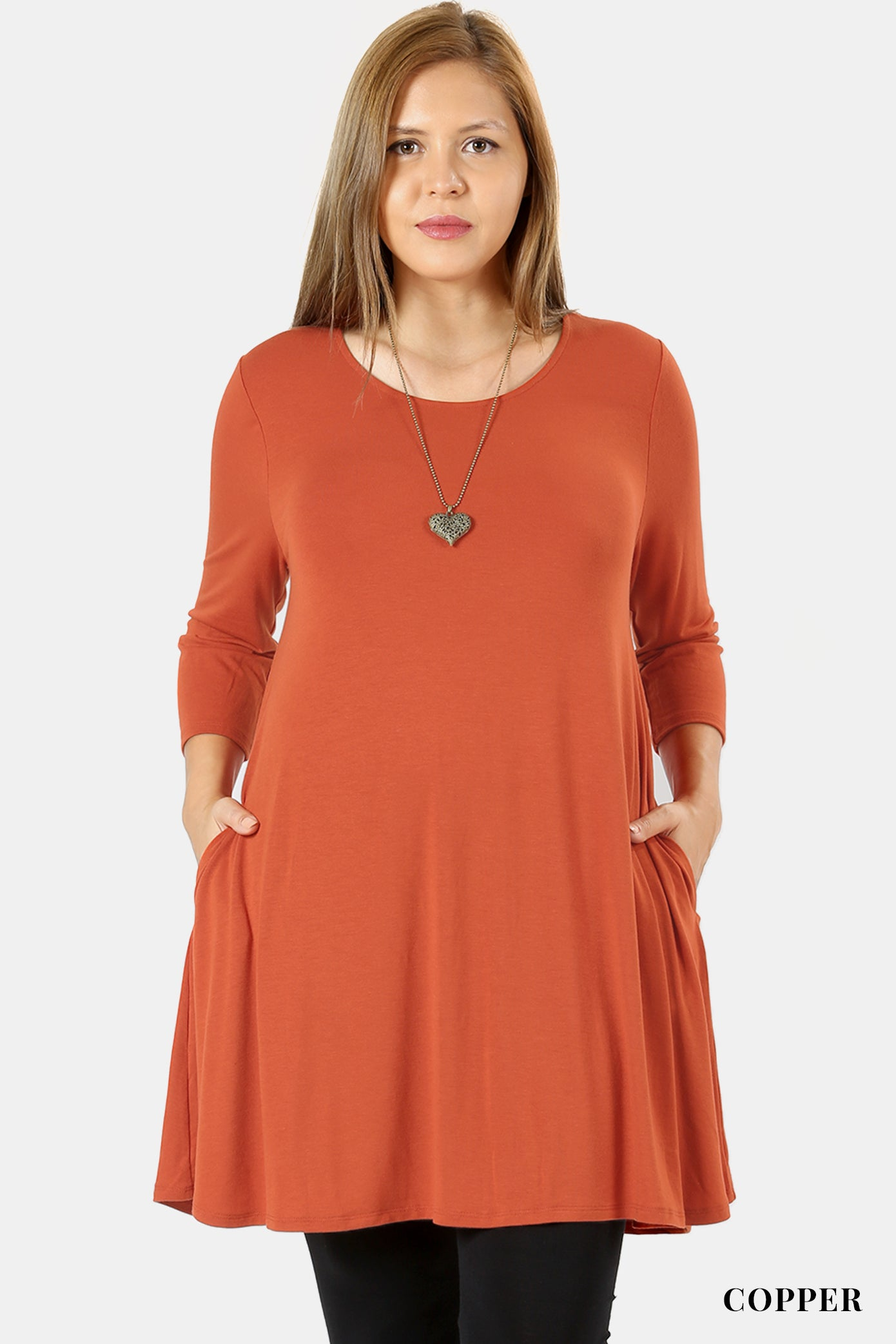 PLUS  3/4 SLEEVE SWING TUNIC WITH SIDE POCKETS