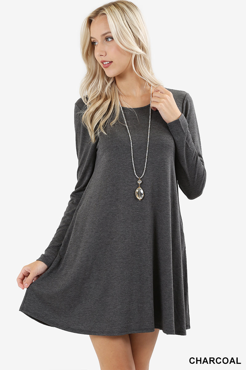 LONG SLEEVE SWING TUNIC WITH SIDE POCKETS - Zenana Outfitters Women's Clothing