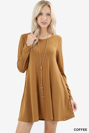 LONG SLEEVE SWING TUNIC WITH SIDE POCKETS