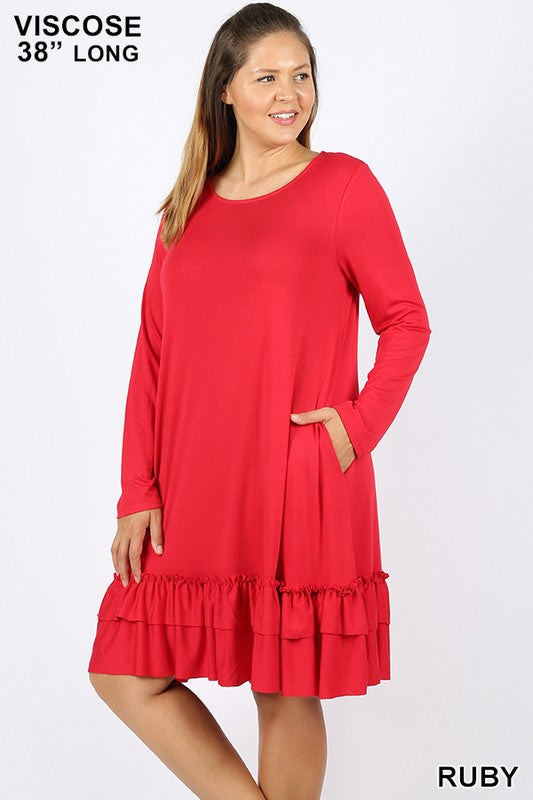 PLUS VISCOSE LONG SLEEVE RUFFLE HEM DRESS